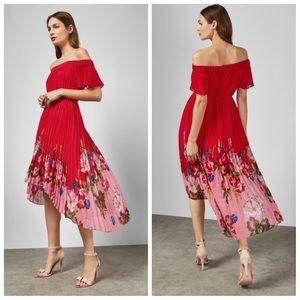 NWT-Red Floral Gillyy Berry Sundae Bardot Dress